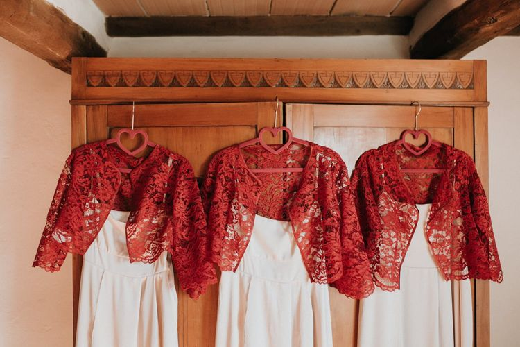 Bridesmaid dresses with red lace cover-ups