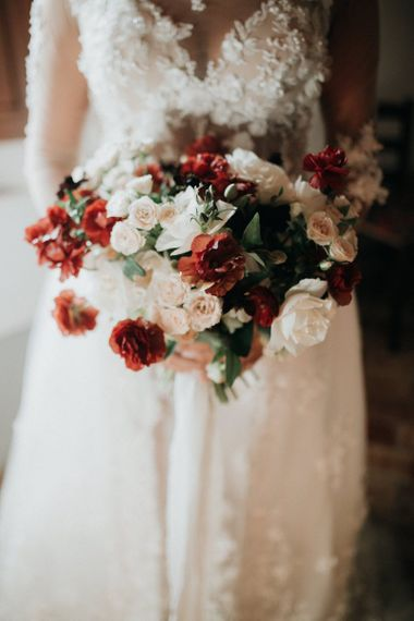 Blush and red wedding bouquet for destination wedding