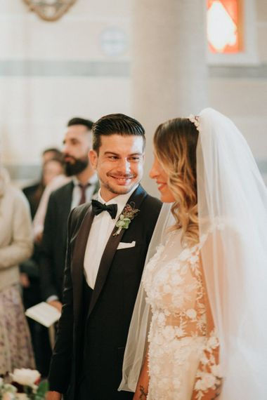 Bride and groom meet at the altar for destination wedding