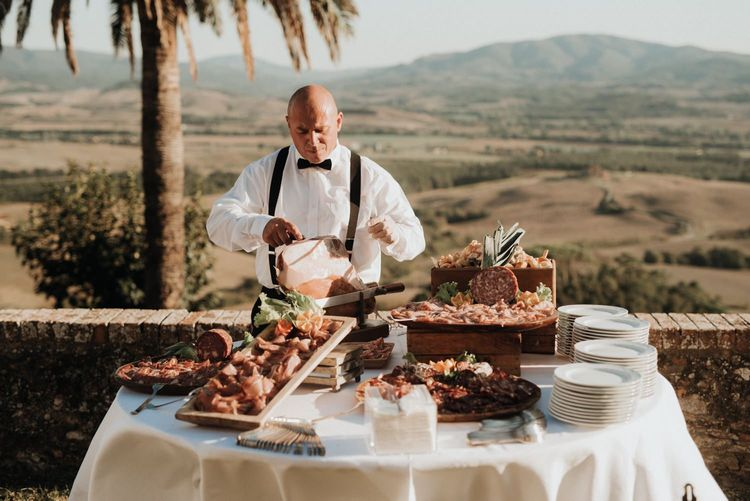 Wedding food table at Tuscany celebration