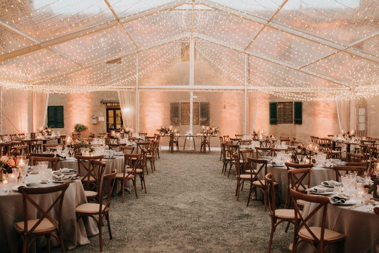 Clear-span marquee decorated by Giulia Alessandri Wedding & Event Planner