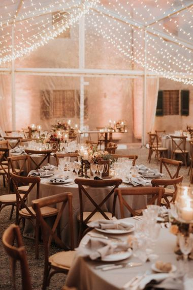 Clear-span marquee decorated by Giulia Alessandri Destination Wedding & Event Planner