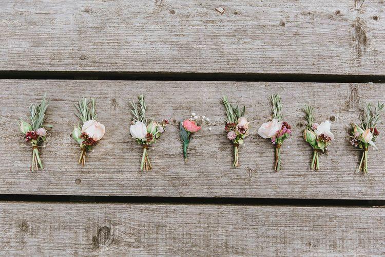 Pastel Flower Wedding Buttonholes