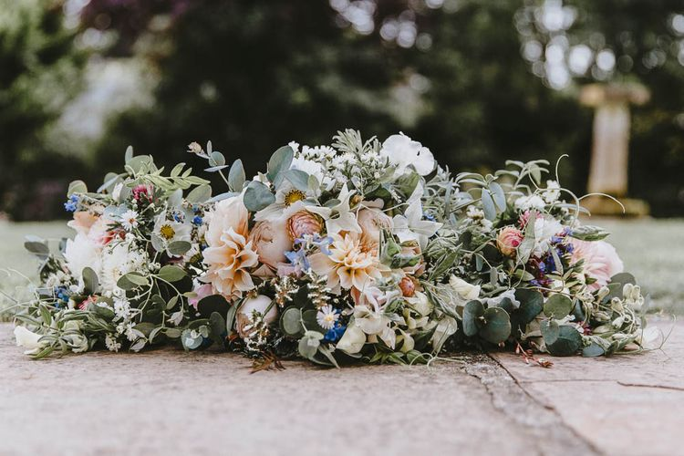 Pastel Pink, Peach, Blue and Green Wedding Bouquets