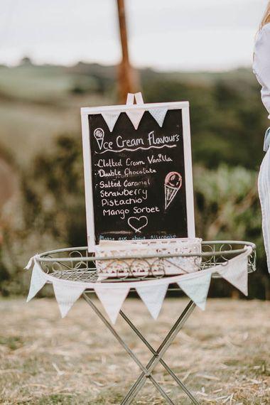 Chalkboard Ice Cream Flavours Wedding Sign