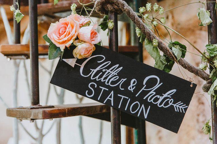 Glitter & Photo Station Chalkboard Wedding Sign