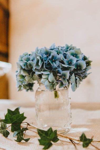 Blue Hydrangea Head in Glass Jar