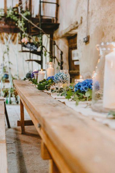 Rustic Barn Wedding Table Decor