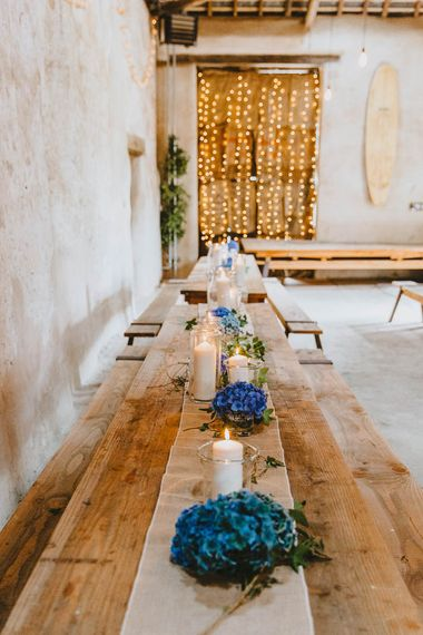 Blue Hydrangea and Candle Wooden Table Centrepieces