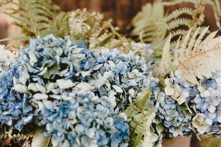 Blue Hydrangea Wedding Flowers and Foliage