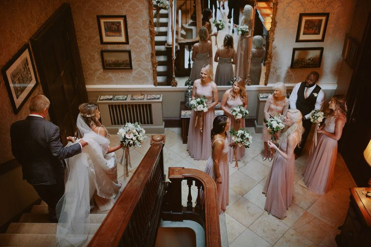 Bride makes her way to Kirtlington Park wedding ceremony