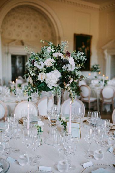 Tall wedding table centrepieces at Kirtlington Park wedding