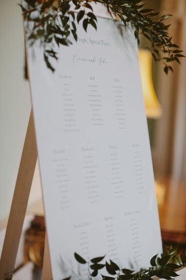 Classic seating chart at Kirtlington Park wedding
