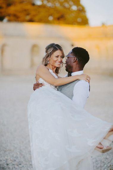Bride and groom at Kirtlington Park wedding