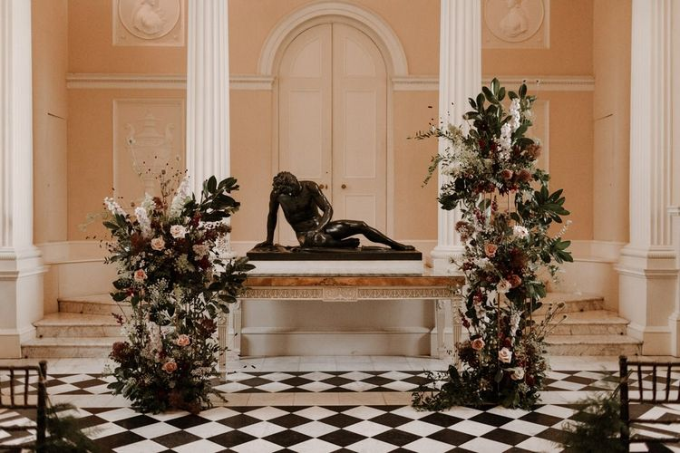 Wedding ceremony altar flowers at Syon Park wedding