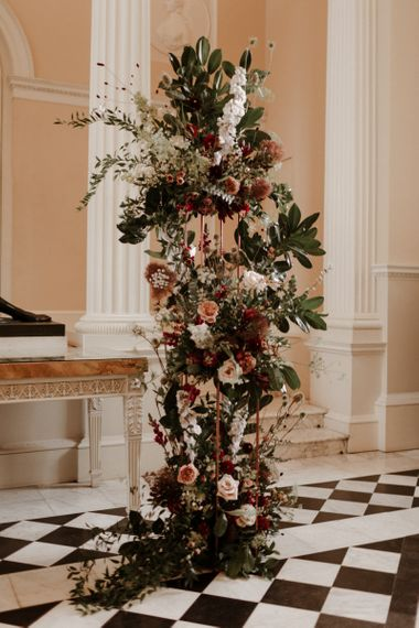 Tall wedding flower arrangement by Grace & Thorn