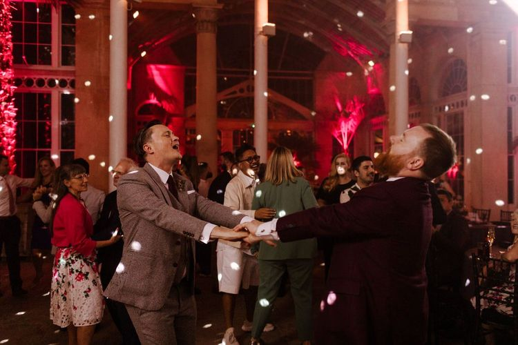 Groom and groom first dance at Syon Park wedding