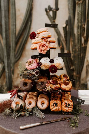 Doughnut tower , alternative wedding cake at Syon Park wedding