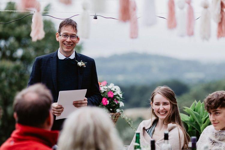 Father of the bride wedding speech at garden party wedding