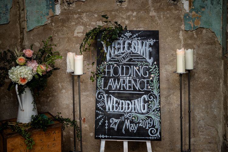 Chalkboard Wedding Sign with Candles