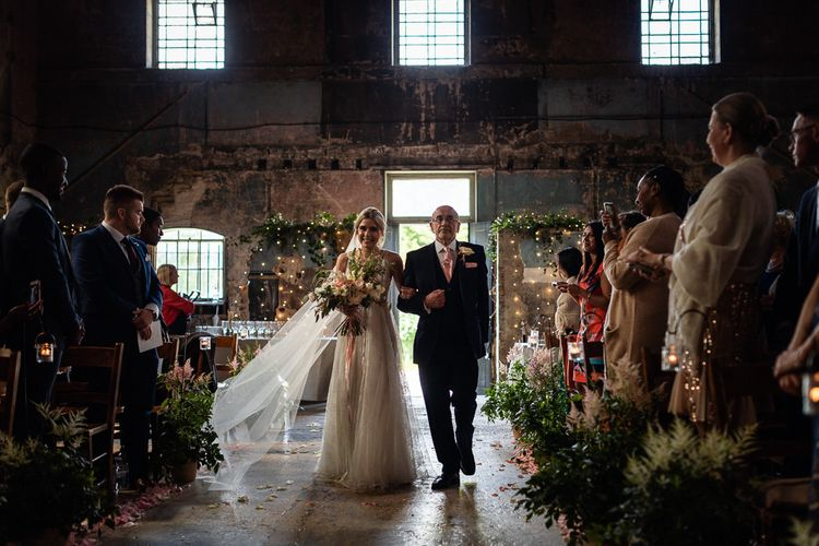 The Asylum Wedding Ceremony Bridal Entrance in Romantic Flora Mila Wedding Dress