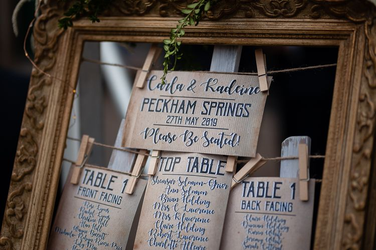 Ornate Frame Seating Chart with Pegged Up Signs