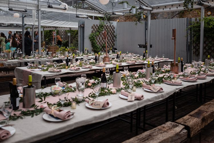 Pink Table Runner and Napkins for a Romantic Reception at Peckham Springs in London