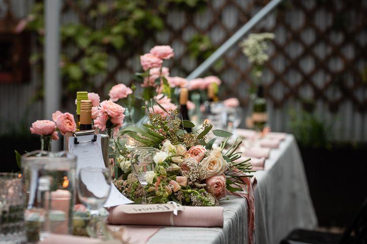 Romantic Pink and Cream Wedding Flowers