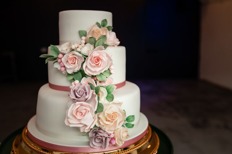 Romantic Royal Icing Wedding Cake with Cascading Rose Decor