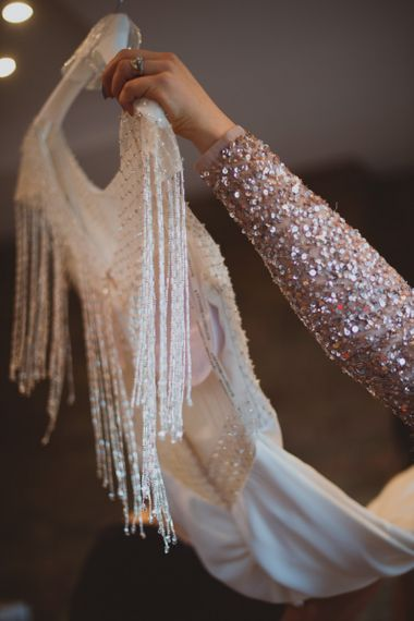 Bridal Preparations With Beaded Wedding Dress