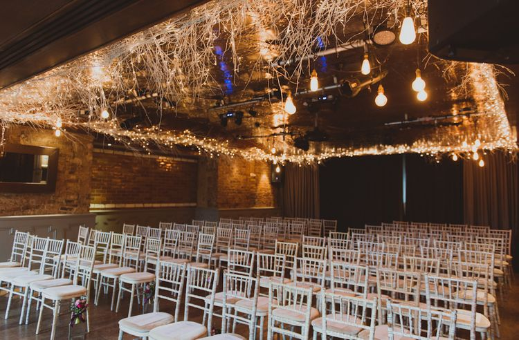 Fairy Lights At Ceremony For Winter Wedding