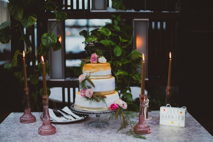 Wedding Cake With Candle Decor