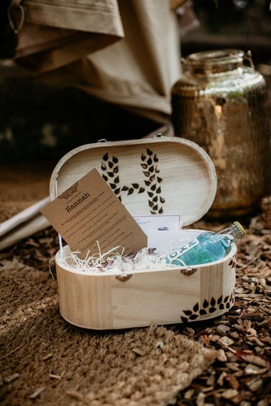 Bridesmaid Gift Box | Burgundy Outdoor Woodland Ceremony & Country Tipi & Horse Bar Reception at The Ancient Woodland, Hertfordshire, Planned & Styled by Caroline Hitchcock Events | Alex Wysocki Photography | DgtlCouture Film