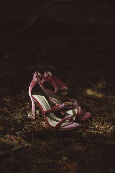 Pink Bridal Shoes | Burgundy Outdoor Woodland Ceremony & Country Tipi & Horse Bar Reception at The Ancient Woodland, Hertfordshire, Planned & Styled by Caroline Hitchcock Events | Alex Wysocki Photography | DgtlCouture Film