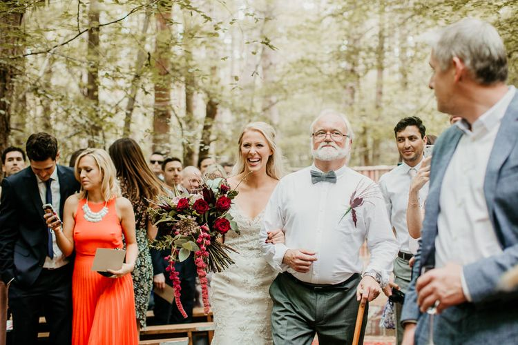 Wedding Ceremony Bridal Entrance in Maggie Sottero Gown | Burgundy Outdoor Woodland Ceremony & Country Tipi & Horse Bar Reception at The Ancient Woodland, Hertfordshire, Planned & Styled by Caroline Hitchcock Events | Alex Wysocki Photography | DgtlCouture Film