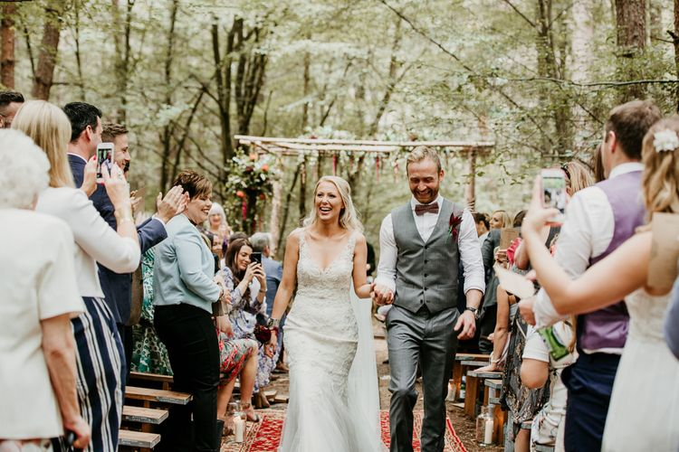 Wedding Ceremony | Bride in Maggie Sottero Gown | Groom in  Waistcoat | Burgundy Outdoor Woodland Ceremony & Country Tipi & Horse Bar Reception at The Ancient Woodland, Hertfordshire, Planned & Styled by Caroline Hitchcock Events | Alex Wysocki Photography | DgtlCouture Film