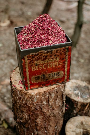 Vintage Tin Confetti Box | Burgundy Outdoor Woodland Ceremony & Country Tipi & Horse Bar Reception at The Ancient Woodland, Hertfordshire, Planned & Styled by Caroline Hitchcock Events | Alex Wysocki Photography | DgtlCouture Film