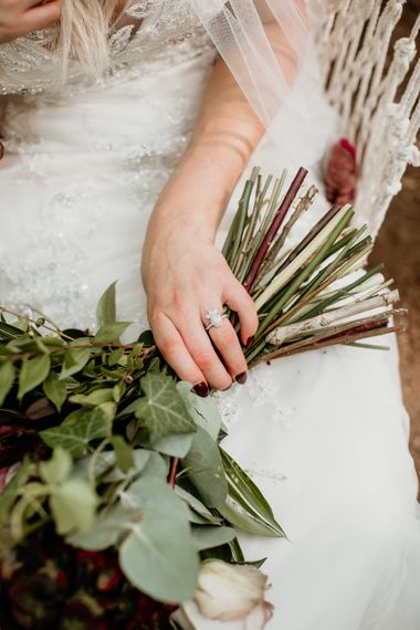 Diamond Engament Ring | Burgundy Outdoor Woodland Ceremony & Country Tipi & Horse Bar Reception at The Ancient Woodland, Hertfordshire, Planned & Styled by Caroline Hitchcock Events | Alex Wysocki Photography | DgtlCouture Film