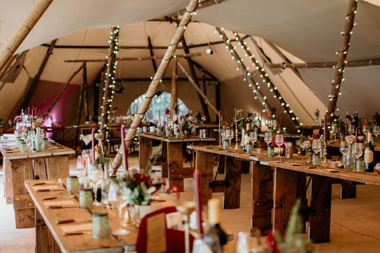 Country Tipis Reception | Burgundy Outdoor Woodland Ceremony & Country Tipi & Horse Bar Reception at The Ancient Woodland, Hertfordshire, Planned & Styled by Caroline Hitchcock Events | Alex Wysocki Photography | DgtlCouture Film
