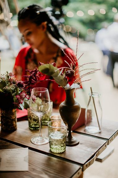 Flower Stems in Jars Wedding Decor | Burgundy Outdoor Woodland Ceremony & Country Tipi & Horse Bar Reception at The Ancient Woodland, Hertfordshire, Planned & Styled by Caroline Hitchcock Events | Alex Wysocki Photography | DgtlCouture Film
