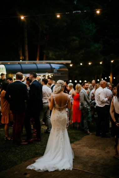 Bride in Maggie Sottero | Burgundy Outdoor Woodland Ceremony & Country Tipi & Horse Bar Reception at The Ancient Woodland, Hertfordshire, Planned & Styled by Caroline Hitchcock Events | Alex Wysocki Photography | DgtlCouture Film