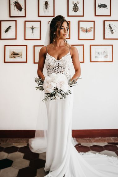 Stunning white bridal bouquet for black and white wedding