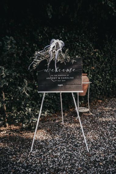 Wedding welcome sign for black and white wedding