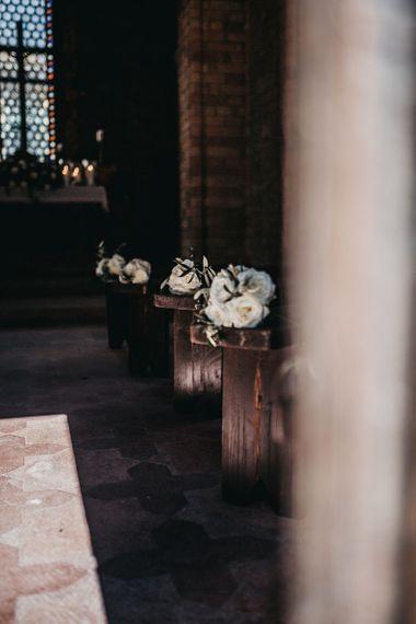 White wedding flowers at church for Italian wedding