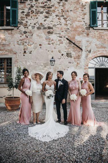 Pink bridesmaid dresses for Italian destination wedding