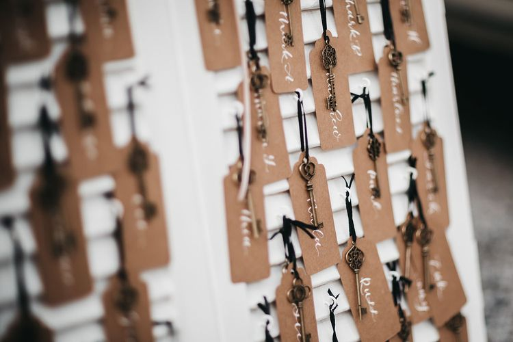 Wedding table plan with vintage keys for black and white wedding