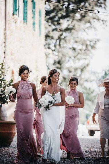 Pink bridesmaid dresses for destination wedding