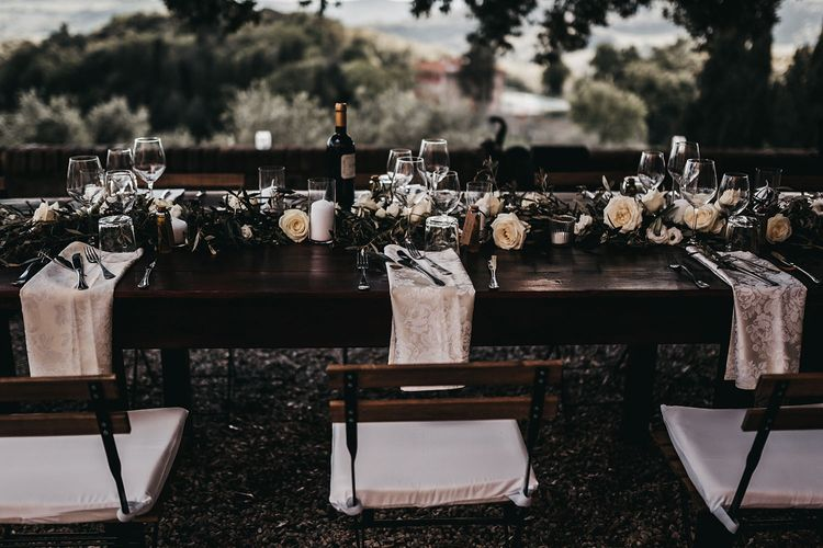 Black and white wedding table decoration