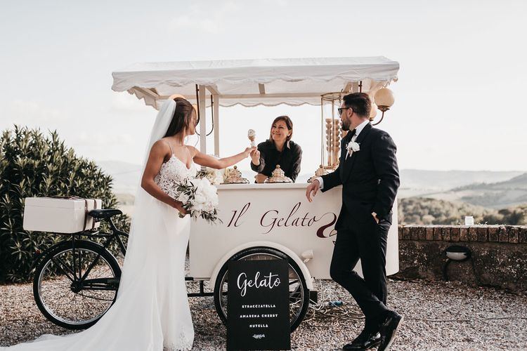 Gelato trike at black and white wedding in Italy