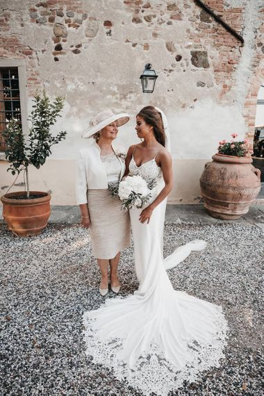 Bride with mother of the bride at destination wedding